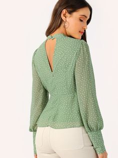 Green Choker Neck V-cut Knot Front Bishop Sleeve Peplum Top Blouse Wom – Benovafashion Stylish Shirts, Stylish Tops, Saree Blouse Neck Designs, Blouse Designs, Workwear Fashion, Fashion Outfits, A Line Skirt Outfits, Black Sweater Outfit, African Blouses