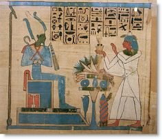 Egyptian Book of the Dead [Throne of the Firmament (red and blue) and the Firmament overhead supported by two was scepters. Osiris in his Firmament domain.]