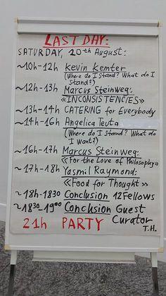 Vom 12. - 20. August 2016 (ausser 18. August 2016) wird die Sommerakademie in der Kunsthalle Bern arbeiten. Zwischen 10.00 – 20.00h finden täglich Präsentationen und Diskussionen der Fellows und der drei internationalen Speakers Tania Bruguera, Yasmil Raymond und Marcus Steinweg zusammen mit Gastkurator Thomas Hirschhorn statt. Das detaillierte Tagesprogramm wird jeweils von Thomas Hirschhorn handschriftlich am Vorabend notiert.
