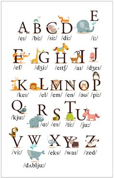 Teach English to children with this cute and fun Alphabet poster that has pronunciation and adorable animals to go along with each letter. English Alphabet Pronunciation, Phonetics English, English Grammar For Kids, English Phonics, Learning English For Kids, English Lessons For Kids, English Verbs, Kids English, Learn English Words