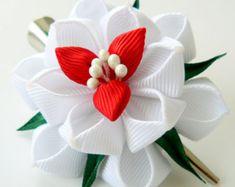 Kanzashi Stoff Blume Haarspange, weißen Stoff-Blume.
