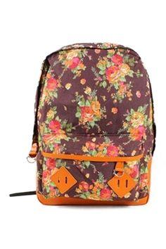 ROMWE | ROMWE Floral Print PU Panel Backpack, The Latest Street Fashion