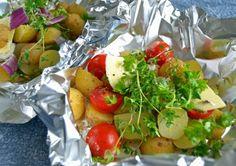 Kartofler i folie med krydderurter og grønt. Perfekt på grill og i ovn...