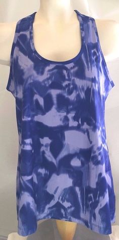 LUKKA Watercolor Blue Racerback Stretchy Athletic Tank Top Womens Size L #Lukka #ShirtsTops