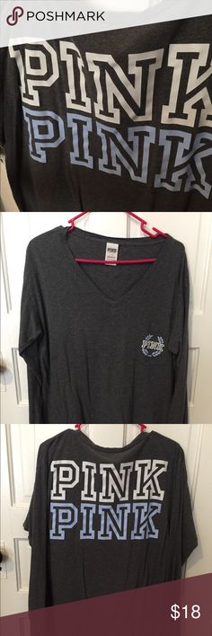 Victorias secret PINK long sleeve grey shirt Victorias secret PINK long sleeve grey shirt. This shirt has a pocket with the pink logo on it and two large pink logos on the back. This shirt is also a v neck and is long enough to cover most of the butt. PINK Victoria's Secret Tops Tees - Long Sleeve
