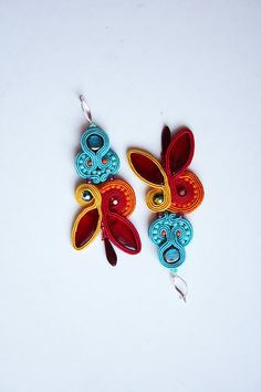 Rainbow multicolor colorful soutache earrings turquoise by agtesa