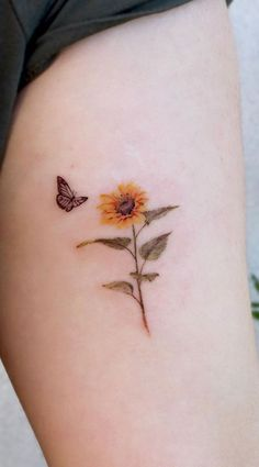 Celebrate the Beauty of Nature with these Inspirational Sunflower Tattoos - cut. - Celebrate the Beauty of Nature with these Inspirational Sunflower Tattoos – cute sunflower tatto - Cute Tats, Cute Tiny Tattoos, Dainty Tattoos, Pretty Tattoos, Small Thigh Tattoos, White Tattoos, Ankle Tattoos, Awesome Tattoos, Hand Tattoos