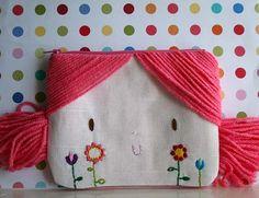 Doll face pink yarn hair zipper pouch by sweetdolls on Etsy