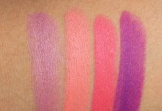 mac reel sexy lipstick swatches : from the left: Pink Popcorn (Lustre), Reel Sexy (Amplified), Watch Me Simmer (Amplified) and Heroine (Matte)