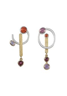 "Janis Kerman: , Post earrings in sterling silver and 18k yellow gold with Angel Skin coral, amethyst, spinel, and pink sapphire. Sterling silver posts. Approx 1 1/2 x 3/4""."