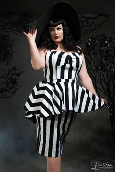 Deadly Dames Plus Size Glamour Ghoul Dress in Black and White Stripe
