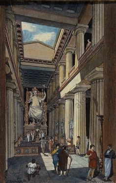 "Interior of the Temple with Phidias' Statue of Zeus - INTERIOR OF THE TEMPLE WITH PHIDIAS' STATUE OF ZEUSOlympia (Greece), Temple of Zeus (built by Libon of Elis, 465 BC).  ""Interior of the Temple with Phidias' Statue of Zeus"". (Reconstruction).  Woodcut by Georg Rehlender (born 1845) From: Oskar Jäger, Weltgeschichte, vol. 1 Geschichte des Altertums, 6th edition Bielefeld and Leipzig 1903."