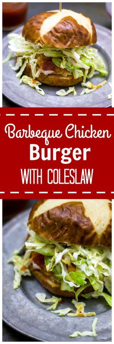 Barbeque Chicken Burger with Coleslaw: A hand-made chicken patty is seasoned with barbeque flavors and stuffed with cheddar cheese, grilled and basted in sauce and topped with a creamy slaw. It is so much MORE than you dreamed possible with BBQ.