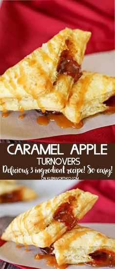 Caramel Apple Turnovers are absolutely delicious & require only 3 ingredients. An apple & cinnamon packed fall breakfast made oh so easy. Apple Dessert Recipes, Apple Recipes, Easy Desserts, Fall Recipes, Holiday Recipes, Delicious Desserts, Breakfast Recipes, Yummy Food, Healthy Desserts