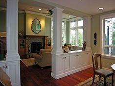 Living Room/Dining Room Divider Cabinetry w/Storage & Columns - PORTFOLIO - Kitchen, Bath, and Home Design   Mark Parsons Design, LLC