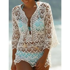 Trendy 3 4 Sleeve Lace Up White Hollow Out Women s Cover Up (1645 RSD) ❤ liked on Polyvore featuring swimwear, cover-ups, lace up swimwear, white swim cover up, cover up swimwear, white swimwear and lace beach cover up