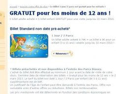 disneyland paris : 1 billet adulte achete = 1 billet enfant offert