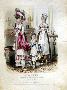 Fancy dress for women and girls, 1875 Austria-Hungary (modern-day Budapest, Hungary), Budapesti Bazárra Looks like an Empire-era woman (with a Biedermeier hairstyle and hat for some reason), an 18th century girl and an 18th century maid.