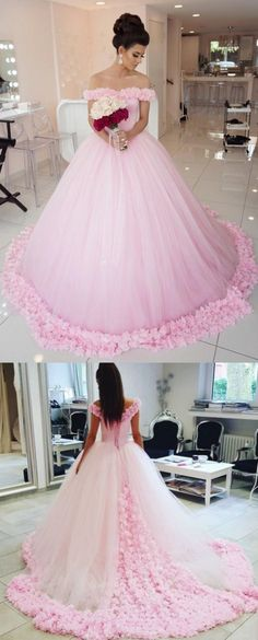 Beautiful Long Ball Gown Wedding Dresses, Pink Sleeveless With Flower Cathedral