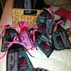 Bachelorette party gift bags. Incl. fake eye lashes, tampons, etc. essentials.