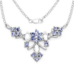 Edles 0,74 Carat seltenes Tansanit Collier Kette 925 Silber florales Collier