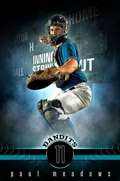 Player Banner Sports Photo Template - Fantasy Baseball - Photoshop Layered Sports Template