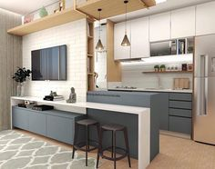 41 Trending Popular Apartment Interior Design For Your Ideas - Home Design and Decor Kitchen Room Design, Home Decor Kitchen, Interior Design Kitchen, Home Kitchens, Decorating Kitchen, Interior Modern, Luxury Interior, Modern Apartment Design, Apartment Kitchen