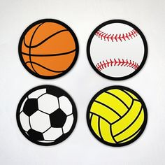 Ball Is Life - Volleyball Magnet Baseball Magnet Set - 4 Pack & Individual Sports Themed Magnets Awesome Wow, Soccer Ball, Volleyball, Magnets, Packing, 6 Inches, Free Images, Baseball, Creative