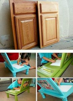 Art Desk For Kids Made From Cupboard Doors adorably cute! DIY Art Desk For Kids Made From Cupboard Doors. great site with tons of DIY.ART ART may refer to: Wood Crafts, Fun Crafts, Arts And Crafts, Diy Projects To Try, Craft Projects, Weekend Projects, Diy For Kids, Crafts For Kids, 4 Kids