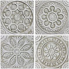 Ceramic wall art. Suzani designs. White collection. Hand made tiles & architectural ceramics. www.gvega.com.