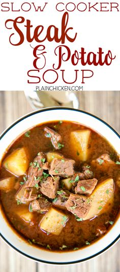 Slow Cooker Steak and Potato Soup 1-1/4 lb stew meat, cut into bitesized pieces 1/4 cup chopped onion or 1 Tbsp dried minced onion flakes 1/4 tsp salt 3 cups cubed and peeled Yukon gold potatoes 4 cups beef broth 1 cup steak sauce 1 Tbsp chili powder 1 tsp ground cumin 1/2 tsp cayenne pepper 2 Tbsp minced fresh parsley  Read more at http://www.plainchicken.com/2016/11/slow-cooker-steak-and-potato-soup.html#1y34whRBVwARPdUs.99