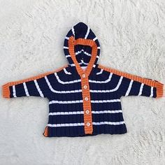Hanna Anderson Baby NEW Blue White Orange Striped Cardigan Sweater size 60 2-6 M  | eBay