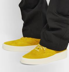 Fear Of God Yellow Suede 101 Lace-up Sneakers In Garden Glove Suede Sneakers, High Top Sneakers, Lace Gloves, Gardening Gloves, Logo Branding, Lace Detail, Gucci, Lace Up, Mens Fashion