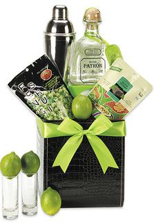 Tequila Gift Basket: a bottle of Patrón Silver Tequila, fresh limes, margarita mix, a shaker, and nuts,