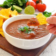 Super easy Restaurant Style Salsa. Minutes to prepare, so much better (and…