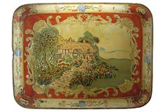 Wonderful antique tole tray featuring a thatched cottage in a bucolic setting. Fabulous scrollwork. Stylized floral border design. No maker's mark.