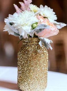 / centerpiece inspo | glitter dipped mason jars /