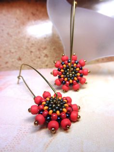 LIGHT RED Beaded Bead Brass Hoop Earwire Earrings by dharajewelry