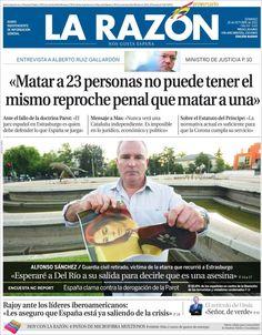 Los Titulares y Portadas de Noticias Destacadas Españolas del 20 de Octubre de 2013 del Diario La Razón ¿Que le pareció esta Portada de este Diario Español?