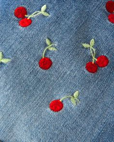 Girls Embroidered Cherry Shortalls - Very Cherry Hand Embroidery Patterns Free, Embroidery Flowers Pattern, Simple Embroidery Designs, Broderie Simple, Diy Broderie, Couture Embroidery, Embroidery Art, Vintage Embroidery, Embroidery Stitches