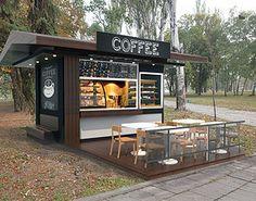 Cafe Shop Design, Coffee Shop Interior Design, Small Cafe Design, Kiosk Design, Coffee Design, Container Coffee Shop, Container Cafe, Cafe Restaurant, Restaurant Design