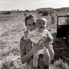 Family of migrant potato pickers in Tulelake, Siskiyou County, California. September 1939 Dorothea Lange