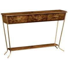 Jonathan Charles Argentinian Walnut Veneered Tapering Console Table