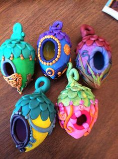 Pretty polymer clay fairy houses-would also be perfect tree ornaments