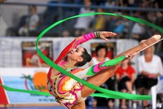 Anna Gurbanova of Azerbaijan performs with ribbon at 2010 Holon Grand Prix at Holon, Israel