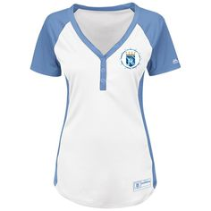 Kansas City Royals Majestic Women's Cooperstown Collection League Diva V-Neck Henley T-Shirt - White/Light Blue