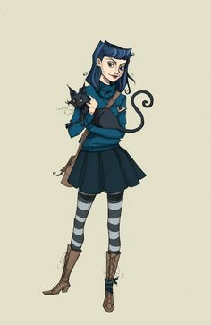"tallytodd: "" Coraline, a little older, done with ink, indian ink, and digital paint. Coraline And Wybie, Coraline Art, Coraline Costume, Estilo Tim Burton, Tim Burton Style, Coraline Jones, Laurence Anyways, Laika Studios, Neil Gaiman"