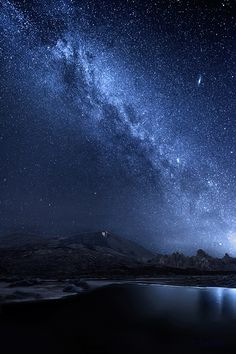 Tenerife, Canary Islands, Spain ~ Galaxy in the PN Teide with reflection on the pond that forms in Plain Ucanca.