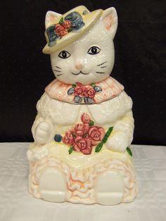 """VINTAGE COOKIE JAR CAT IN RUFFLED DRESS HAT MAROON PINK ROSES 11.5"""" tall"""