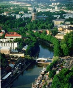 Turku and the river Aurajoki, Finland Cities In Finland, Turku Finland, Scandinavian Countries, Famous Places, Baltic Sea, Helsinki, Travel Posters, Europe, National Parks